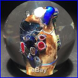 LARGE BROWN Hand Blown Glass Paperweight 24K Gold Sculpture Art- Zac Gorell