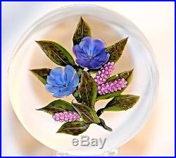 LARGE Beautfiful VICTOR TRABUCCO Lavender / Pink FLORAL Art Glass PAPERWEIGHT