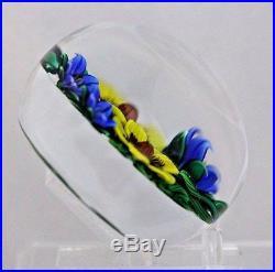 LARGE Bob BANFORD Blue & Yellow FLOWER BOUQUET Art Glass PAPERWEIGHT