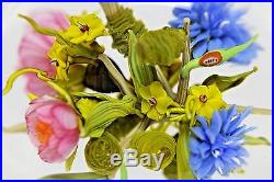 LARGE Gorgeous PAUL STANKARD Floral BOUQUET & WORD CANES Art Glass PAPERWEIGHT