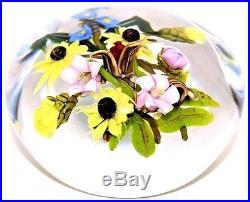 LARGE Marvelous PAUL STANKARD Mixed FLOWER BOUQUET Art Glass PAPERWEIGHT