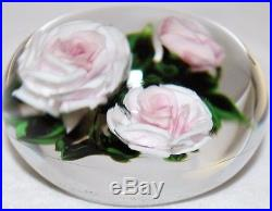 LARGE Marvelous RICK AYOTTE Pink and White ROSES Art Glass PAPERWEIGHT