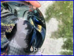LARGE Rollin Karg Dichroic Iridescent Studio Art Glass 6.25 Paperweight Ball
