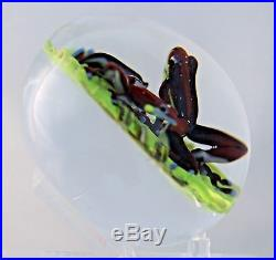 LARGE Spectacular D'ONOFRIO Art Glass EXOTIC Tree FROGS on Bamboo PAPERWEIGHT
