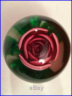 LARGE VINTAGE JOE ST  CLAIR ROSE PAPERWEIGHT EXCELLENT! RARE