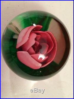 LARGE VINTAGE JOE ST. CLAIR ROSE PAPERWEIGHT EXCELLENT! RARE MAGNUM 3 5/8 tall