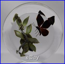 LARGE Victor TRABUCCO Monarch BUTTERFLY and BERRIES Art Glass PAPERWEIGHT