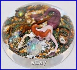 LG Fascinating GORDON SMITH Sculpted MERMAID, STAFF & ORBS Art Glass PAPERWEIGHT