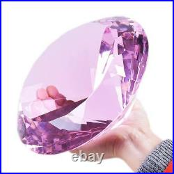 LONGWIN 200mm 7.87 W Glass Crystal Diamond Paperweight Photography Props Pink