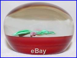 LOVELY Paul J. STANKARD FLORAL With RED Ground ART Glass PAPERWEIGHT