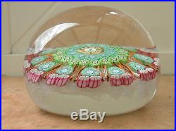Lovely Vintage Signed Perthshire Dated 1974 Boxed Millefiori Glass Paperweight
