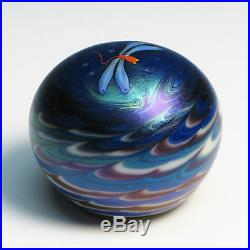 LUNDBERG STUDIO Art Glass Paperweight DRAGONFLY Signed Collectible