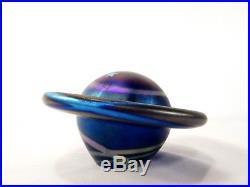 LUNDBERG STUDIOS Moon & Stars ART GLASS PAPERWEIGHT Night Sky IRIDESCENT PLANET
