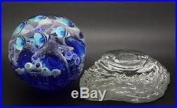 LUNDBERG STUDIOS Underwater Glass Magnum Paperweight with Stand, Apr 5.5Hx5.5W