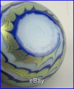 LUNDBERG Studios Paperweight 1997 Art Glass STARRY NIGHT Moon Stars Waves