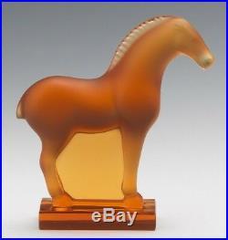 Lalique Amber Tang Horse Art Glass Figure Sculpture Paperweight Figurine
