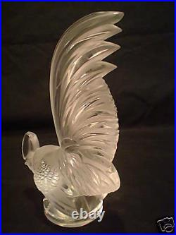 Lalique Clear & Frosted Crystal COQ NAIN Rooster Hood Ornament / Paperweight
