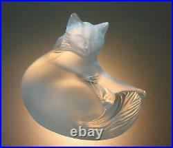 Lalique Crystal Frosted Happy Cat Figurine Paperweight 1179500 Signed & Labeled