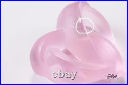 Lalique Entwined Coeur Heart Pink Crystal Paperweight Figurine