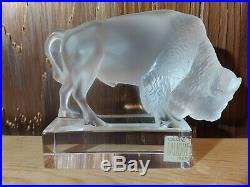 Lalique (France) Crystal Art Glass Buffalo Bison Figurine Paperweight, Signed