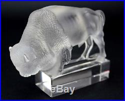 Lalique France Frosted Crystal Bison Buffalo Art Glass Paperweight Figurine LZO
