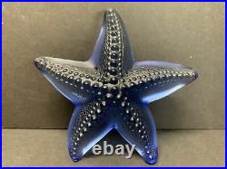 Lalique Oceania Crystal Blue Starfish Figurine Paperweight Signed Rare