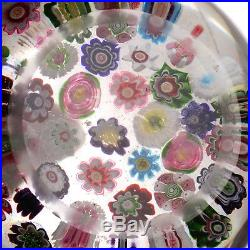 Large Antique CLICHY 37-Cane Spaced Millefiori withFIVE Roses Including 2 HIDDEN