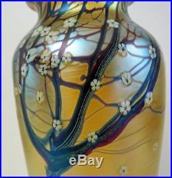 Large Art Glass Orient &Flume Iridescent Gold Hawthorne Blossoms Murrhinis vase
