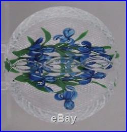 Large BEAUTIFUL Ray BANFORD Glass BASKET Cross Cut IRIS FLOWERS Art PAPERWEIGHT