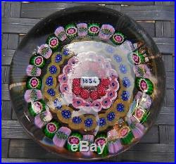 Large Baccarat Complex Concentric Millefiori Lead Crystal Paperweight 1854 Cane