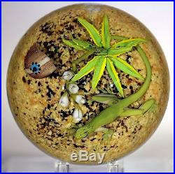 Large COOL Jim D'ONOFRIO Green LIZARD Cactus DESERT Art Glass PAPERWEIGHT