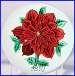 Large EXQUISITE Randall GRUBB Red DAHLIA FLOWER Art Glass PAPERWEIGHT