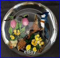 Large MAGNIFICENT Rick AYOTTE Orchids Bluejay Glass PAPERWEIGHT