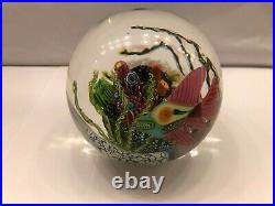 Large Mark Eckstrand Signed Art Glass Caned Fish & Coral Reef Paperweight 5 in