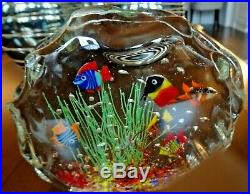 Large Murano Art Glass ROCK AQUARIUM MAGNUM Paperweight Sculpture Fish Seaweed