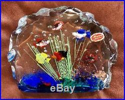 Large Murano Fish Aquarium Art Glass Block Paperweight Heavy Vintage