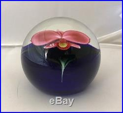 Large Orient And Flume'sillars' Iris / Orchid Pink Floral Paperweight 3.25