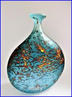 Large PETER LAYTON British Studio Art Glass vase, Lava