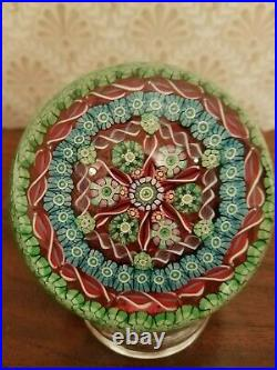 Large Perthshire Millefiori Concentric Paperweight 1988 with Twists