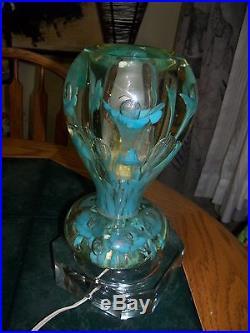 Light Blue ST. CLAIR PAPERWEIGHT LAMP Handblown Art Glass vintage