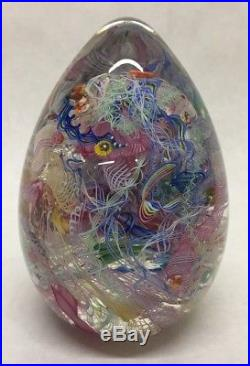 Linda Allyn VENETIAN MAGIC EGG 6 Art Glass Paperweight Signed 1999 MILLEFIORI