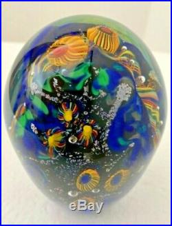 Lindsay Art Glass Signed Blown Glass Dome Undersea Adventures Paperweight