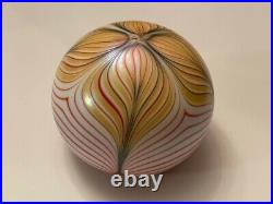 Loetz Art Glass Paperweight Signed Pulled Feather Rare Stunning