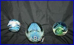 Lot 12 Art Glass Paperweights Signed Peter Schiller Wilbat Fine St Clair Murano