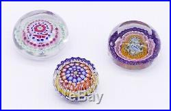 Lot 3 Vintage/Antique PERSHIRE Art Glass Paperweights Millefiori Silhouette Cane