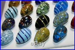 Lot of (24) Miniature Murano Glass Blown Eggs Vintage Art