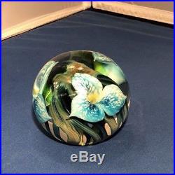 Lotton Studios 2011 J Heer GORGEOUS BLUE FLOWER ART Glass Paperweight Excellent