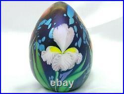 Ltd Ed Orient & Flume Lg Iridescent Egg withIrises Paperweight #41/500 FREE SHIP