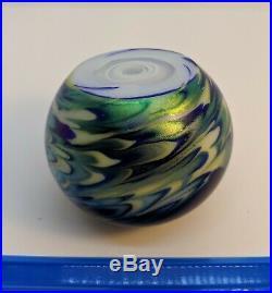 Lundberg Studio Art Glass Paperweight Moon Stars Daniel Salazar 1987