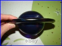 Lundberg Studios Art Glass Galaxy Lamp Saturn Cobalt Blue Stars Iridescent OOAK